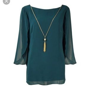 Msk Green Flutter Sleeve Top Gold Chain NWT Large